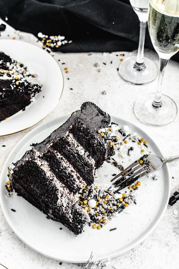 half eaten dark chocolate cake on a white plate