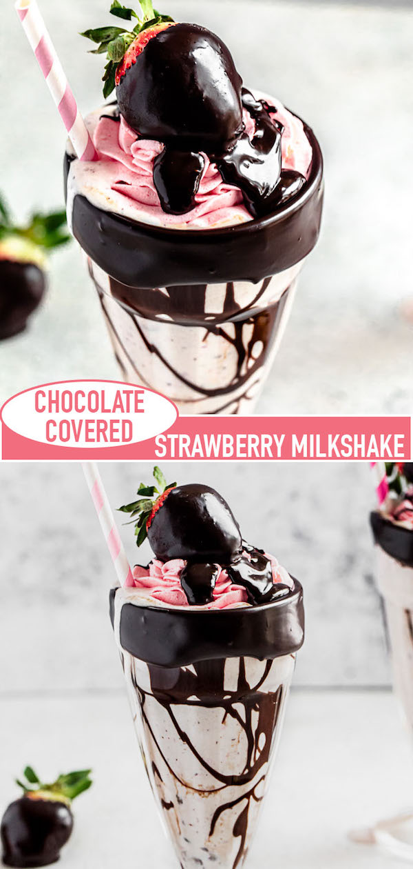 chocolate strawberry milkshake long pin image