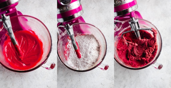 three photo collage of how to make red velvet flavoured cookie dough