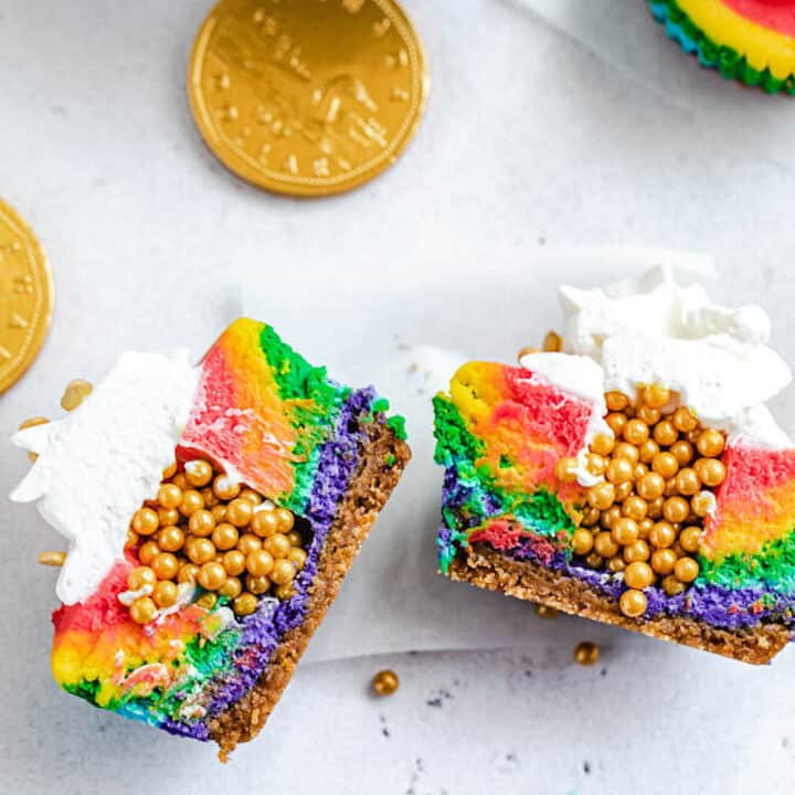 Pot of Gold Mini Rainbow Cheesecakes
