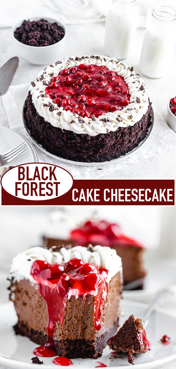 long pin image for black forest cheesecake