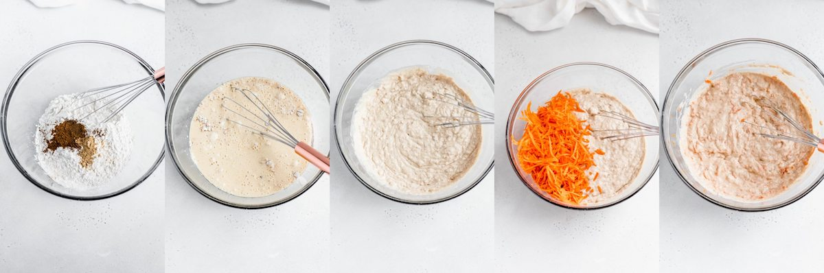 five photo collage of how to mix carrot pancake batter