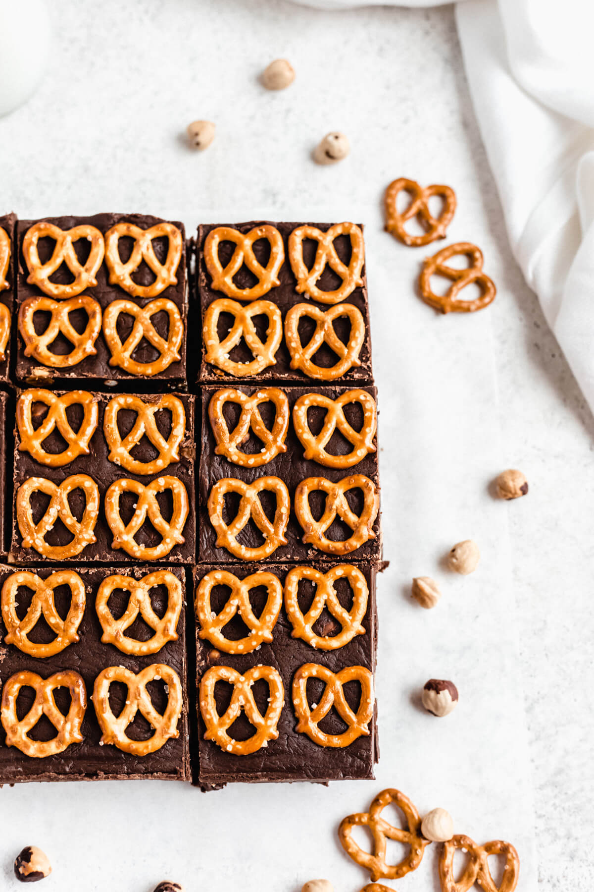 pretzel topped Nutella fudge brownies
