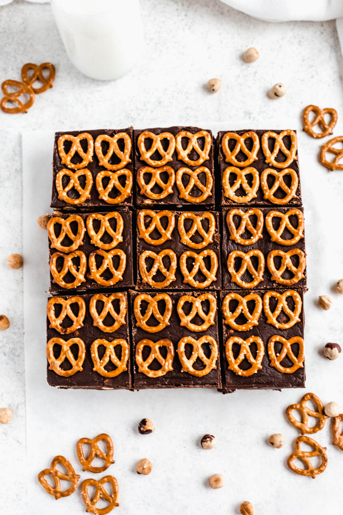 fudge and pretzels topped brownies