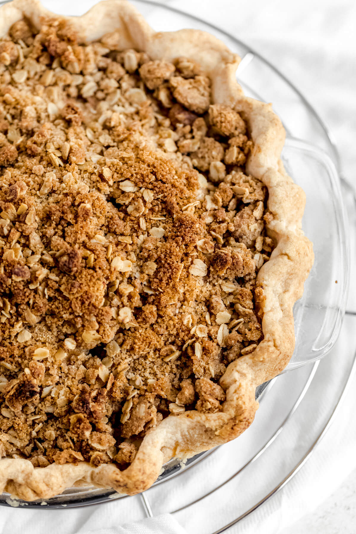 close up of baked crumble topped pie