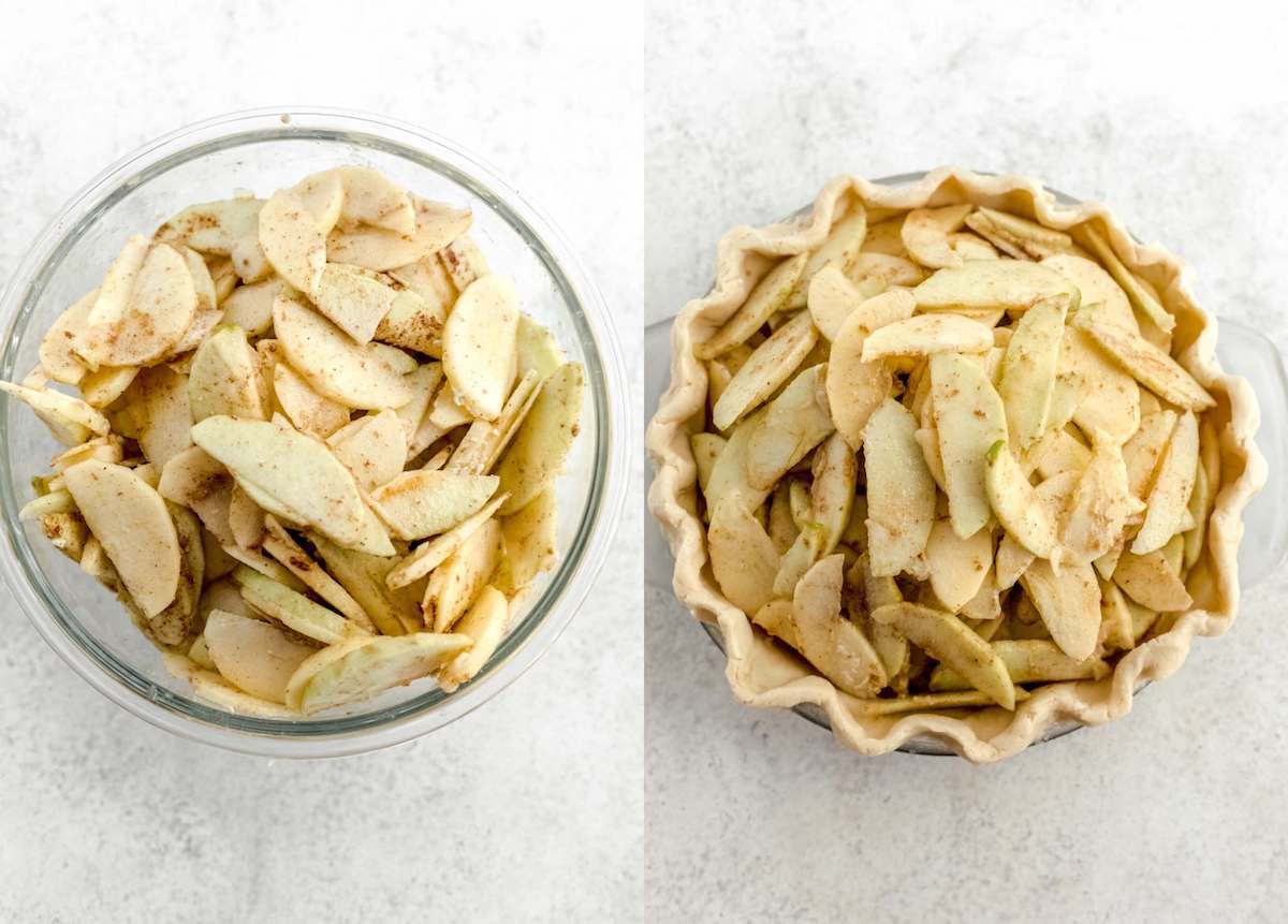 two photo collage of sliced cinnamon coated apples in a glass bowl and sliced apples in a pie crust