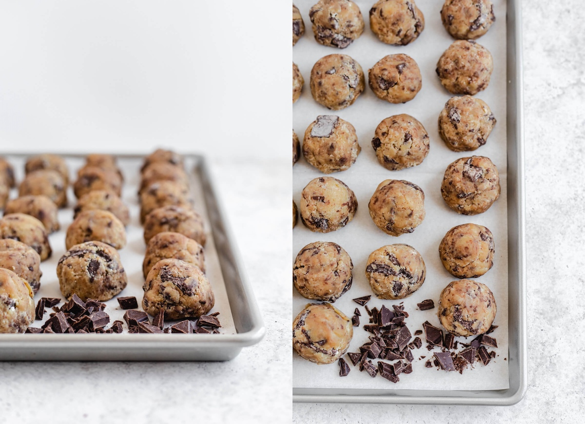 cookie dough balls on a parchment lined baking sheet