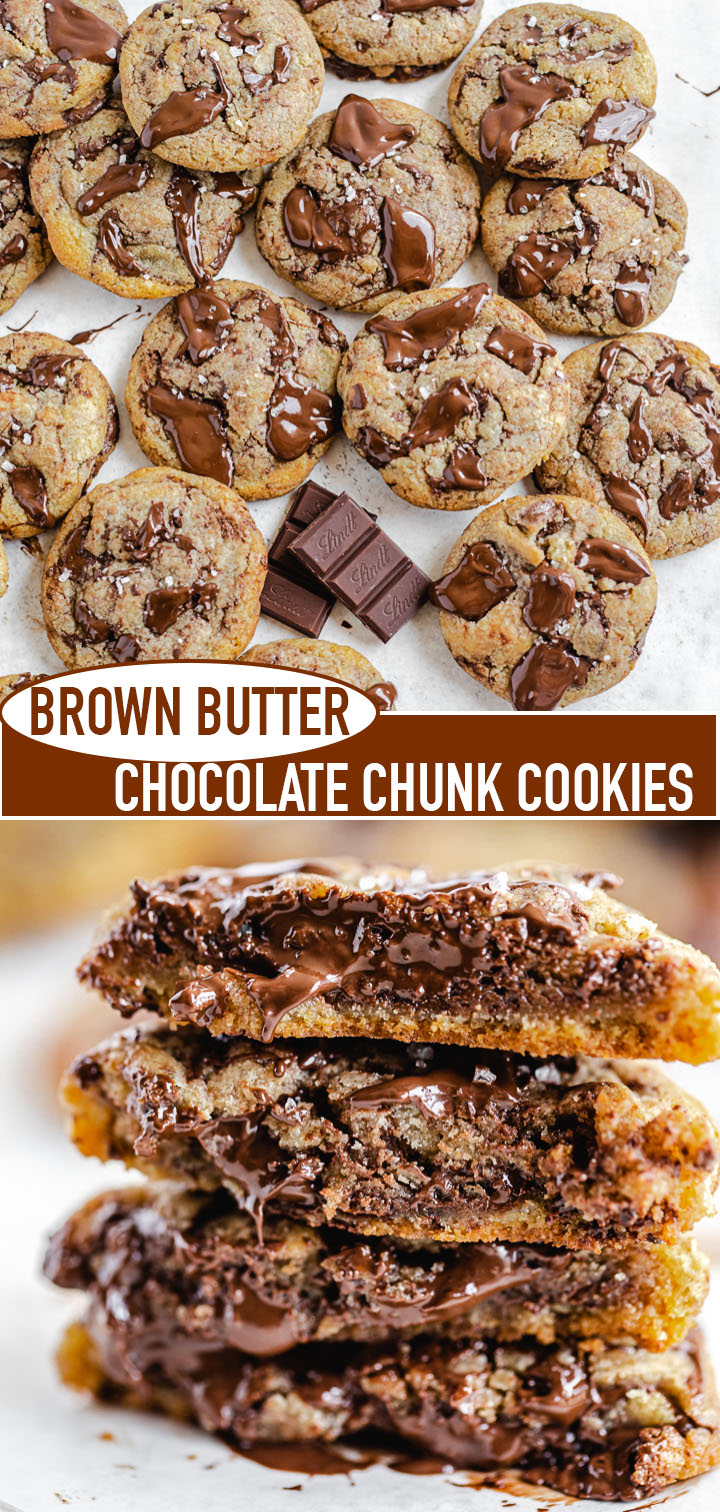 long Pinterest image for brown butter chocolate chunk cookies