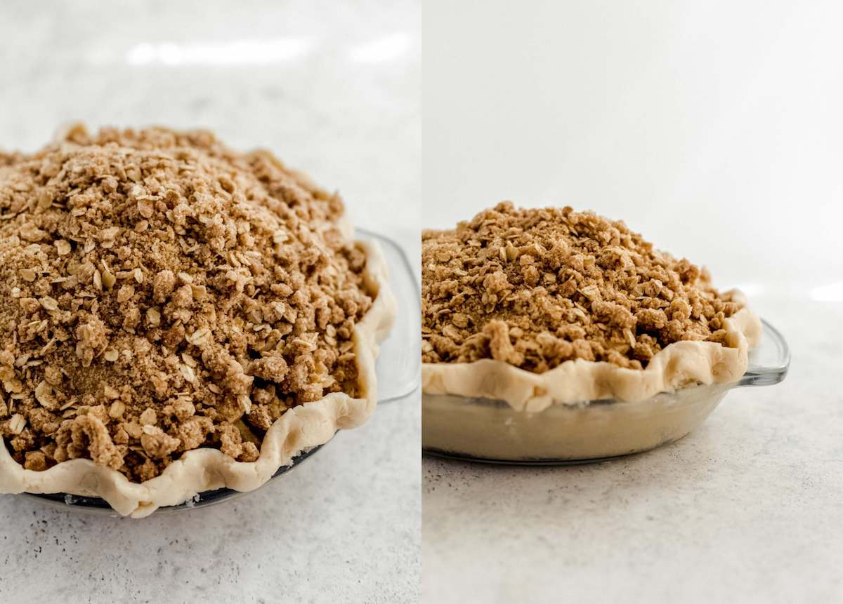 two photo collage of unbaked apple crumble pie