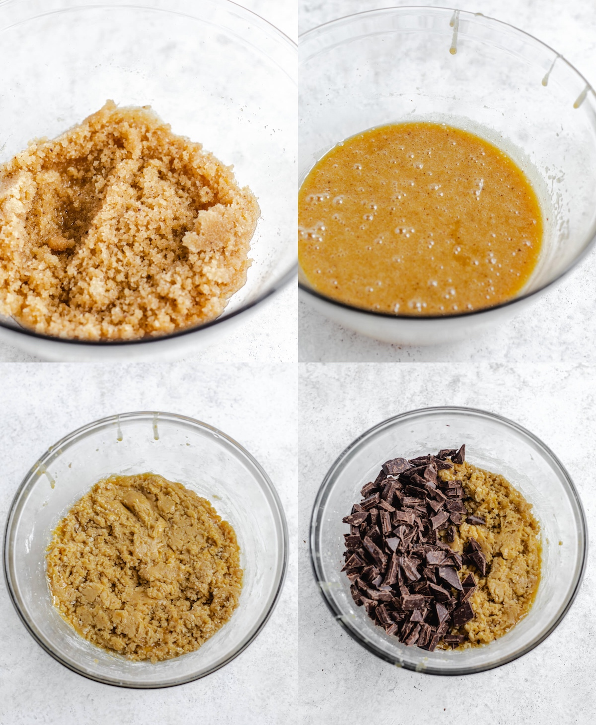 four photo step-by-step collage of how to make brown butter cookies