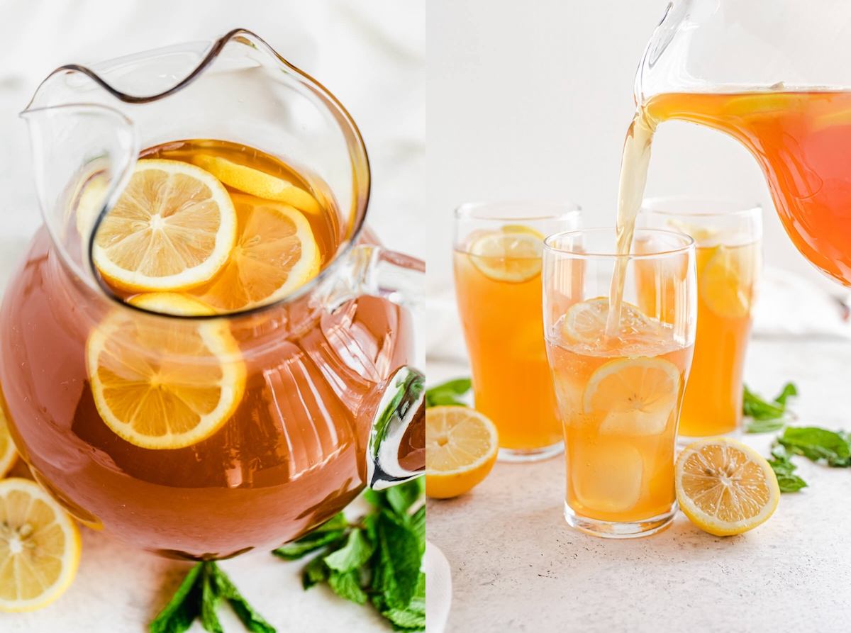 two photo collage of iced tea in a glass pitcher with lemon slices inside and pouring iced tea into a glass with ice and halved lemons