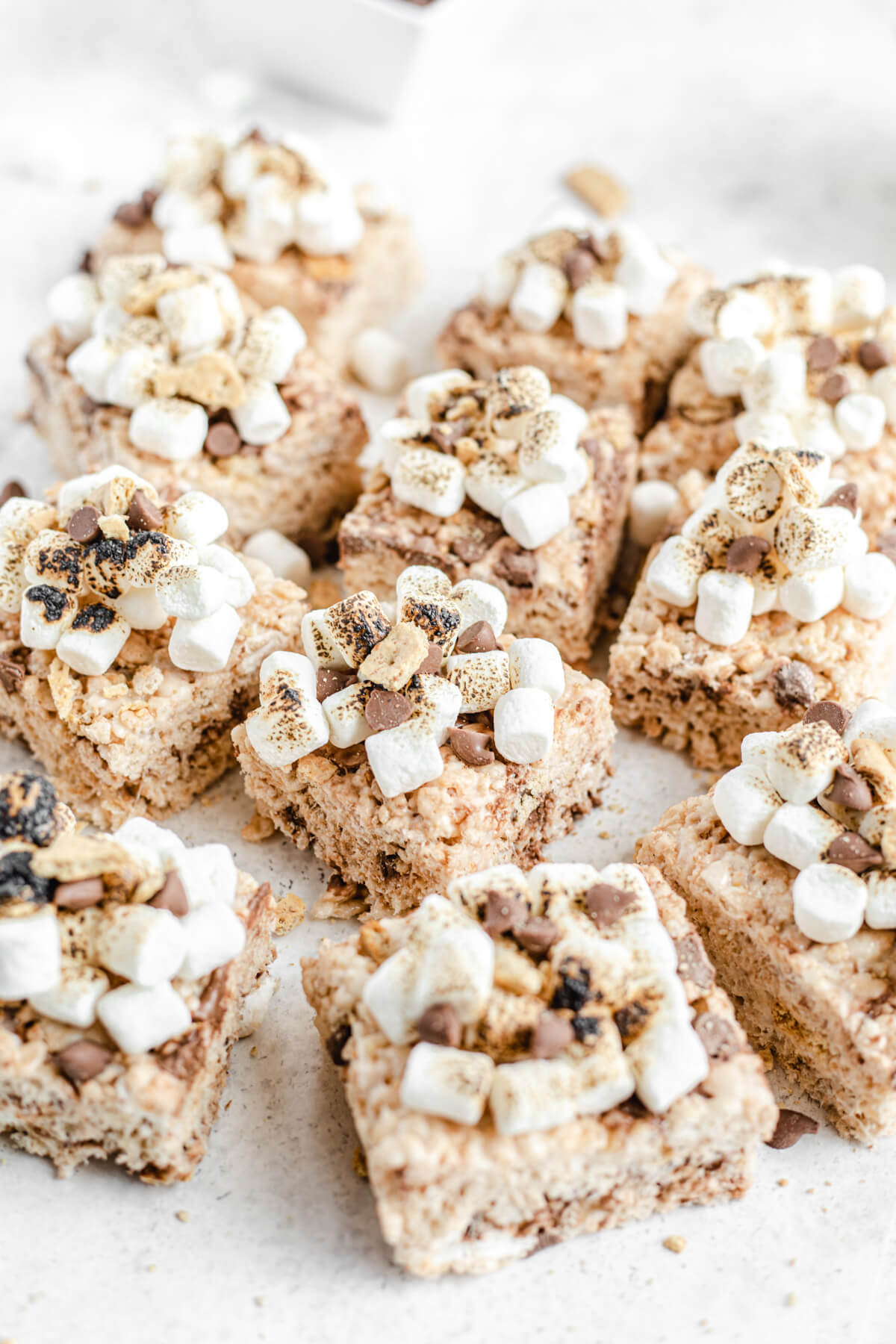 marshmallow, chocolate chip and graham cracker topped Rice Krispie treat bars