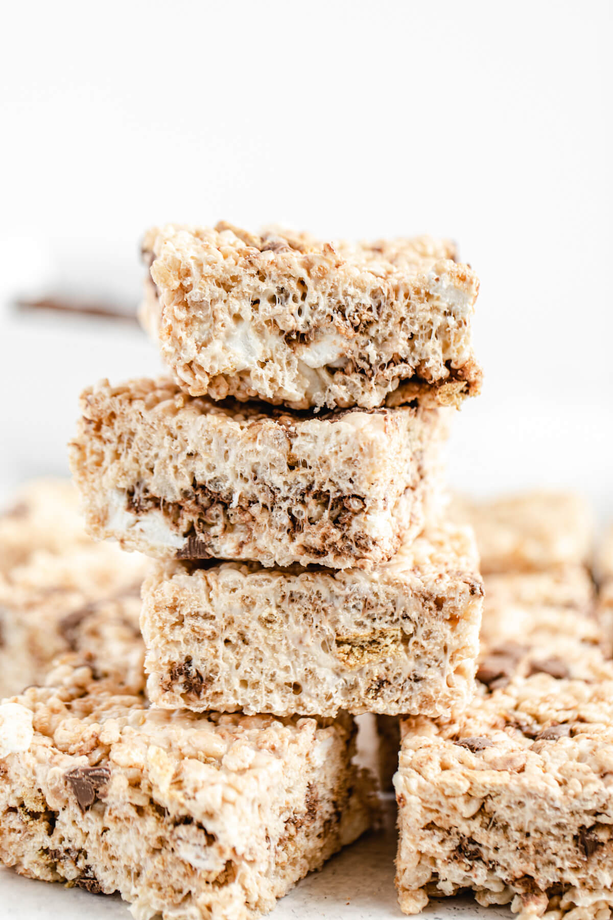 close up of stacked Rice Krispie bars