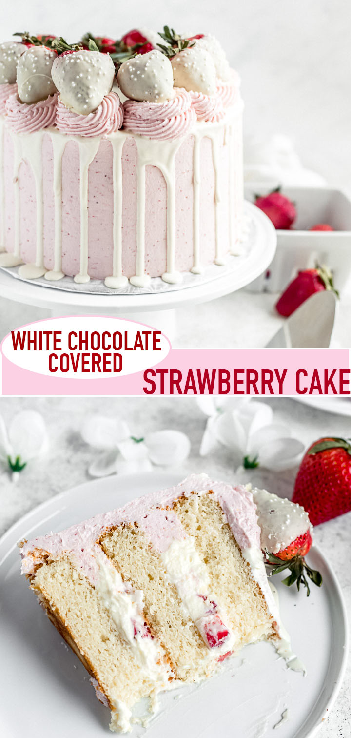 long pin image for white chocolate strawberry cake
