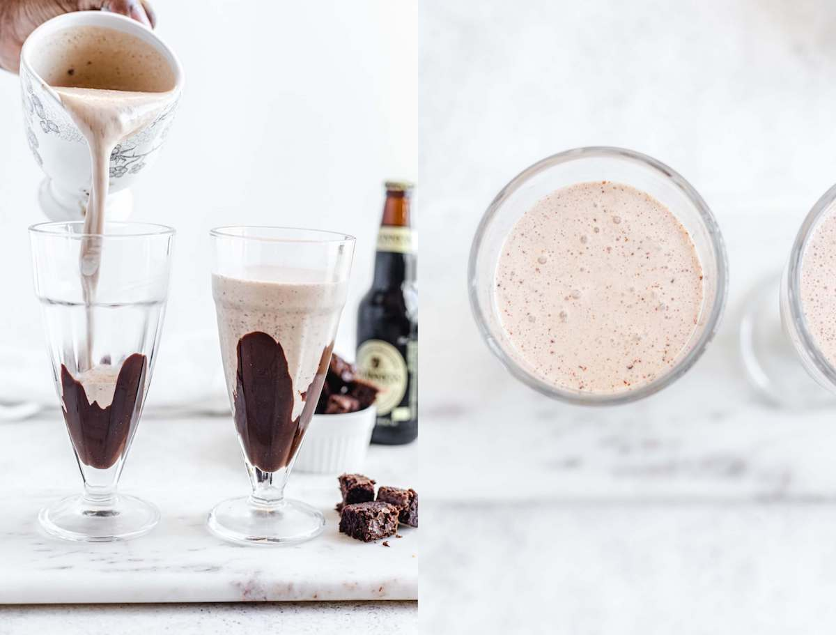two photos showing milkshake being poured into a glass in image 1 and top view of milkshake inside the glass in image 2
