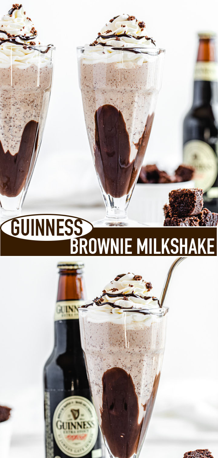 two photo image collage of milkshakes with recipe title in the middle