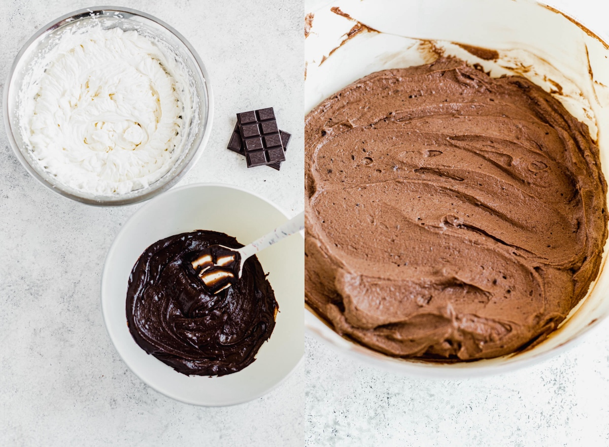 whipped cream and beer ganache in two separate bowls in image 1, both combined to make a mousse in image 2