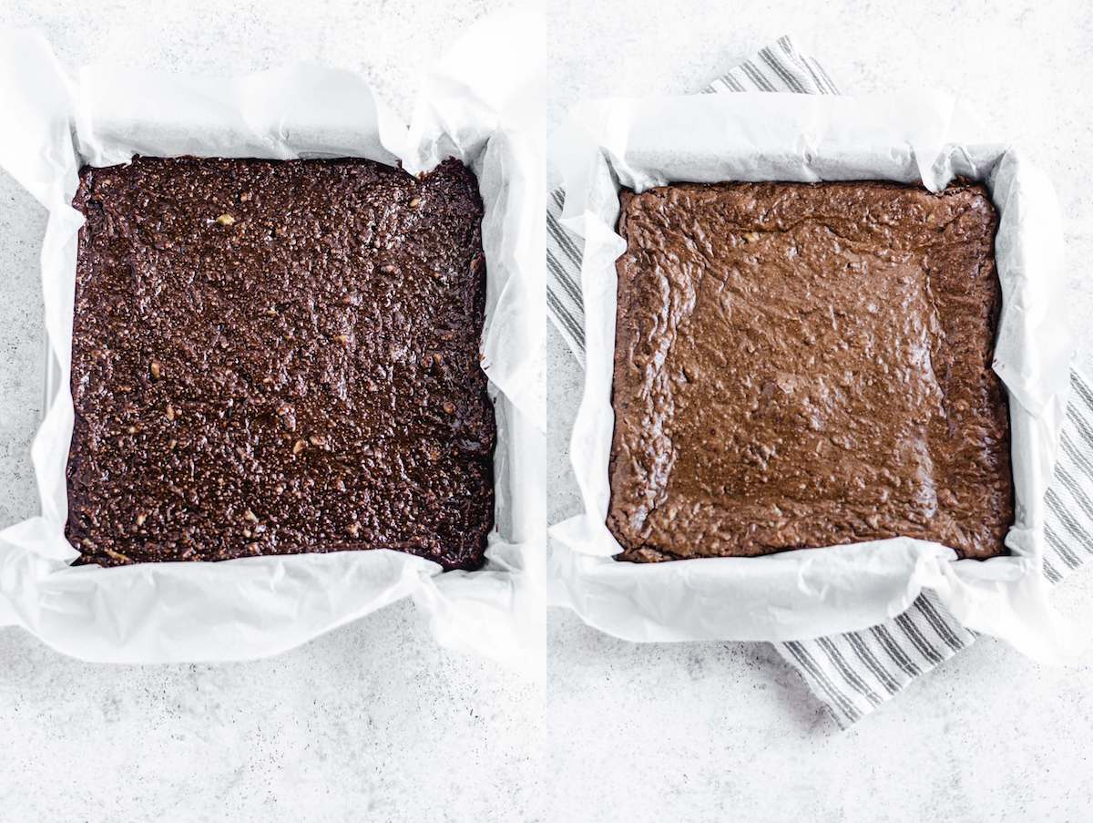 two photos showing brownies before and after they were baked
