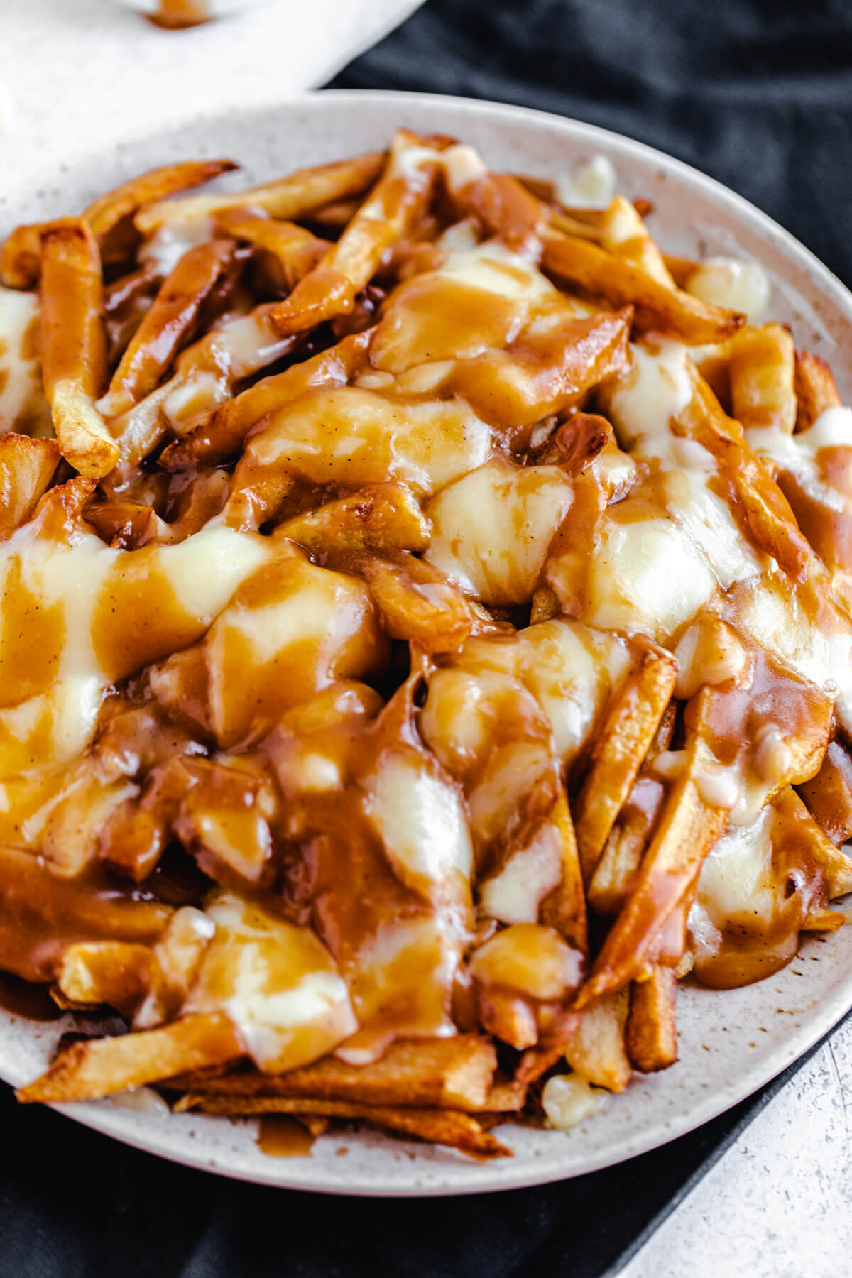 close up of fries, melted cheese and gravy on a round serving platter