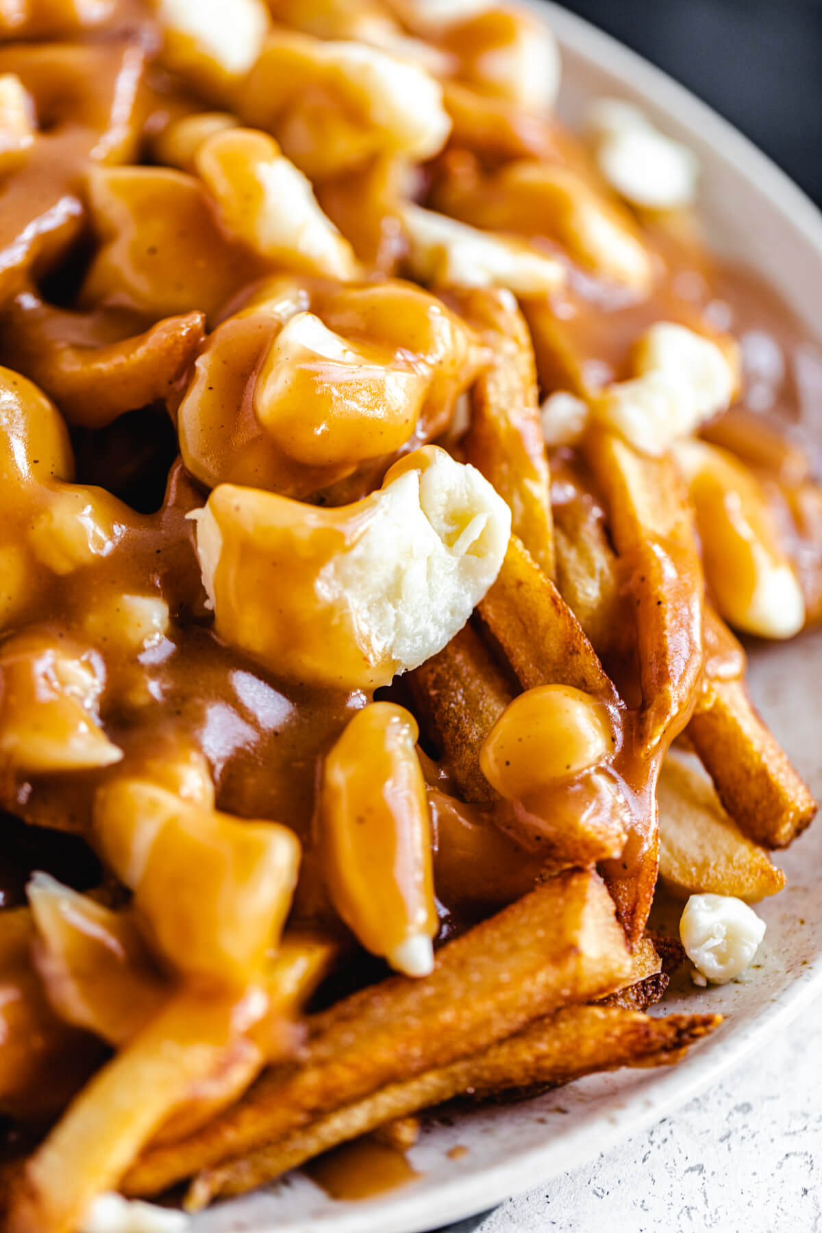 close up of fries and cheese curds covered in gravy