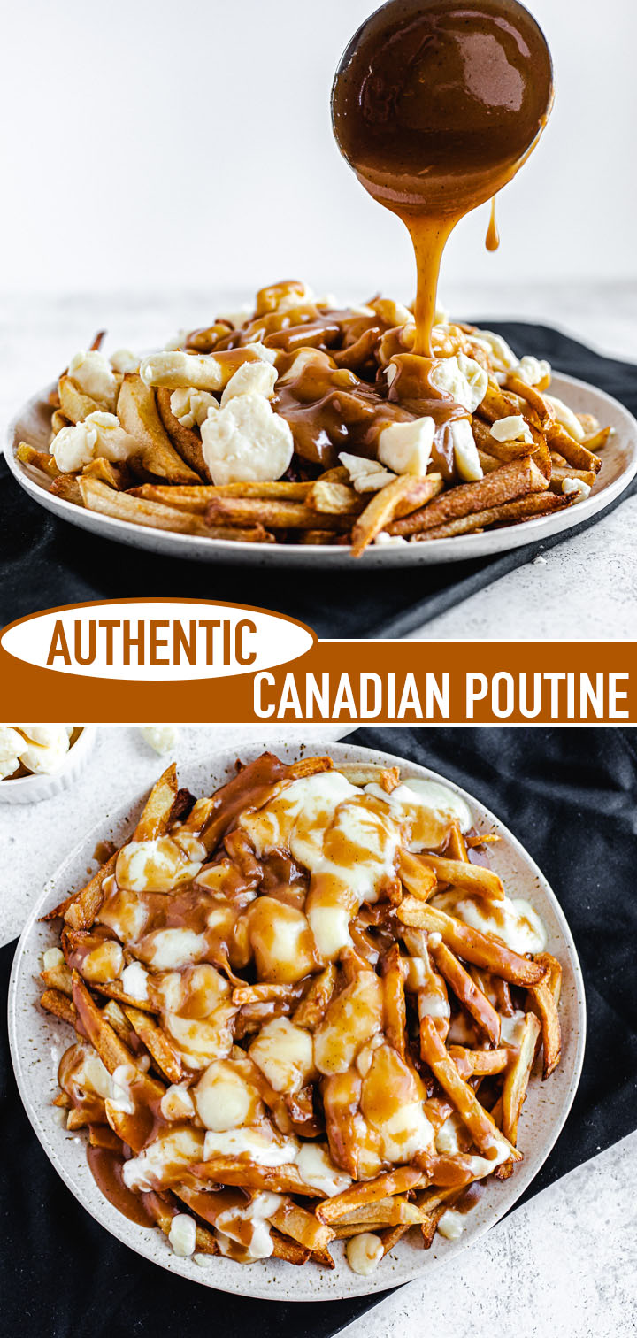 vertical collage image of poutine with recipe title in the middle of both photos