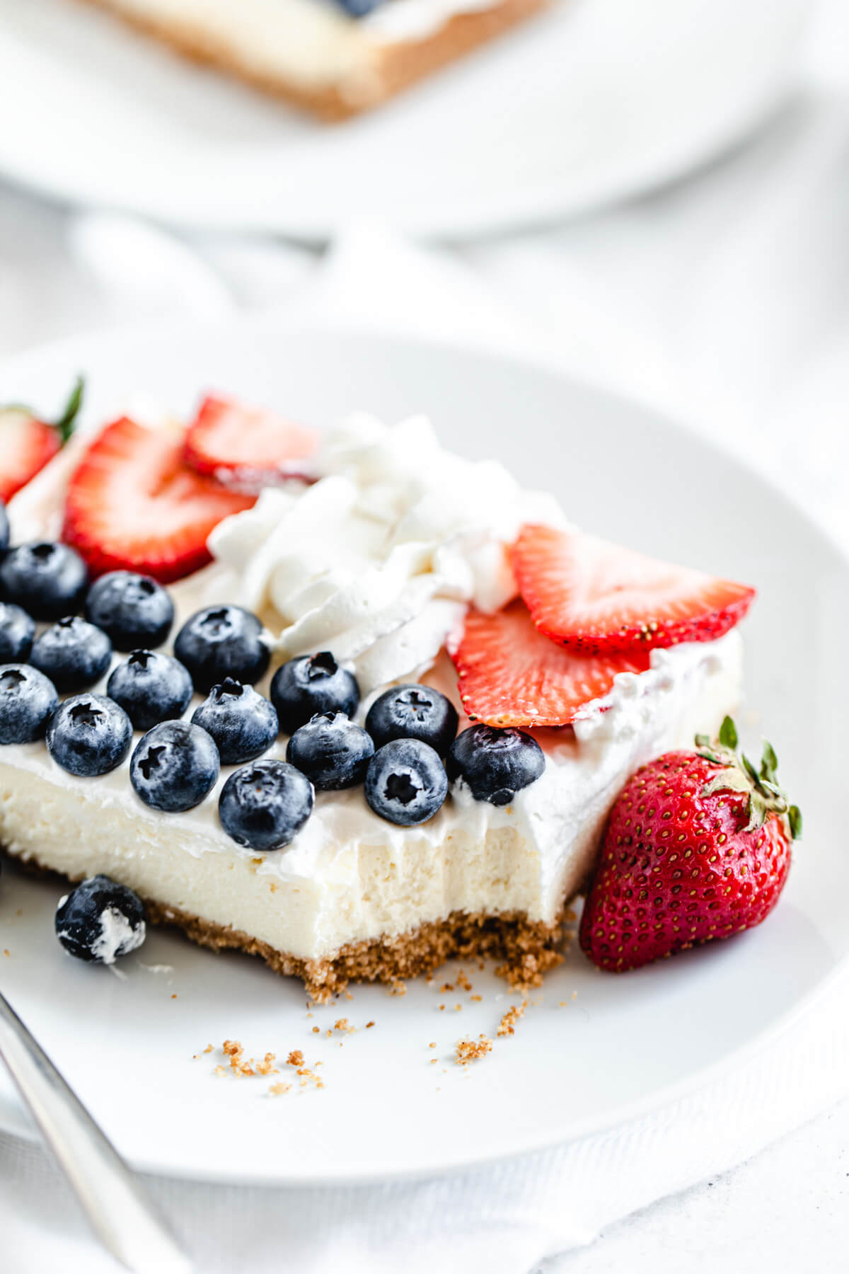 slice of cheesecake on a white plate