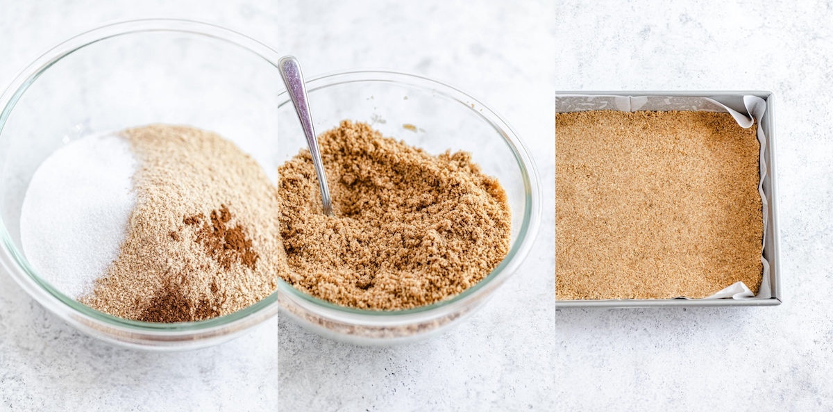 three photo collage showing graham cracker crumbs, sugar and cinnamon in a bowl, everything combined together and graham cracker crust pressed into pan