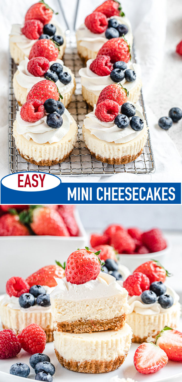 two photos of mini cheesecakes with the recipe title in the middle