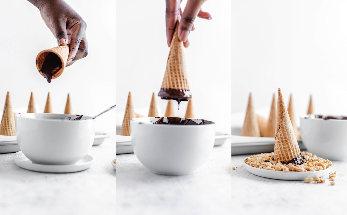 pouring chocolate out of ice cream cones and dipping them in chocolate and peanuts