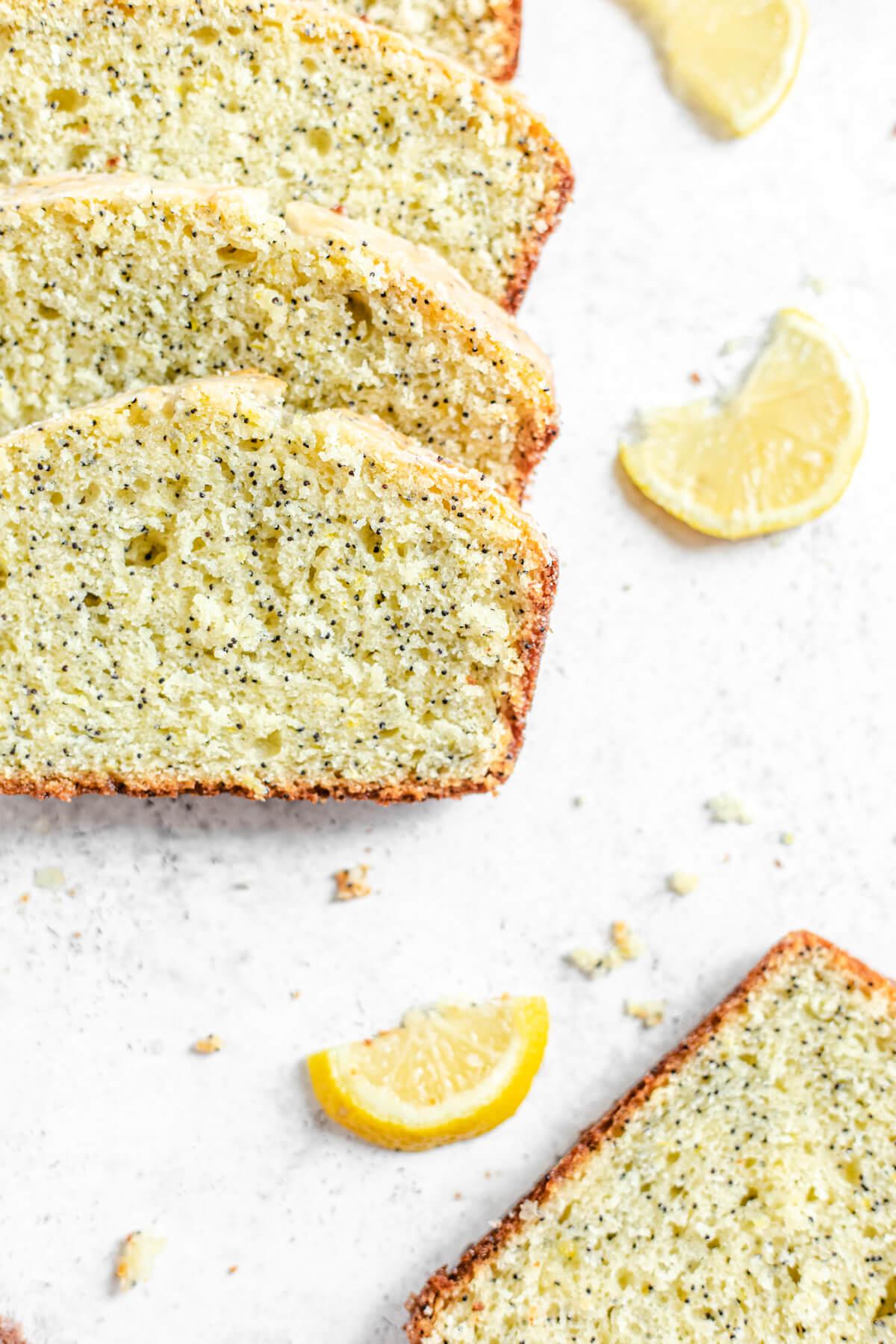 slices of loaf with lemon slices beside them
