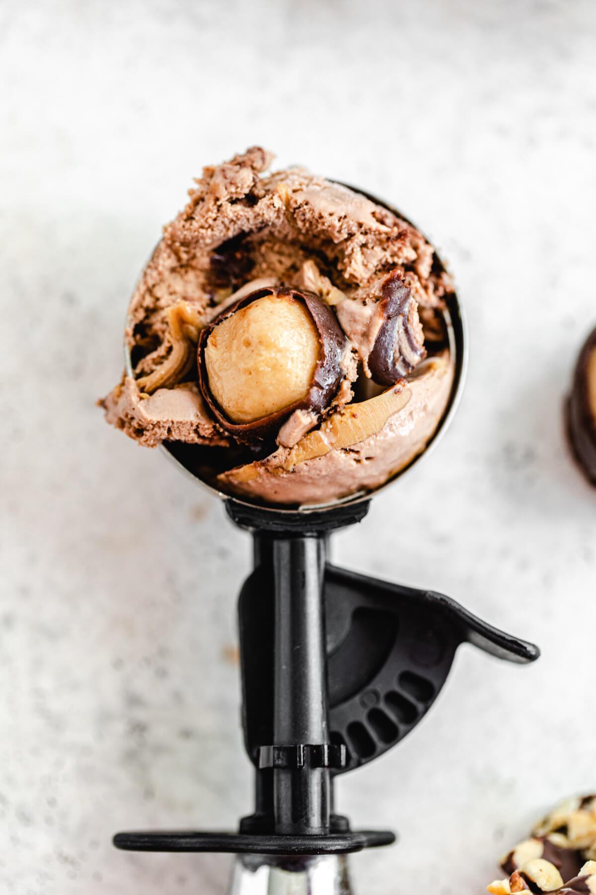 ice cream in an ice cream scoop