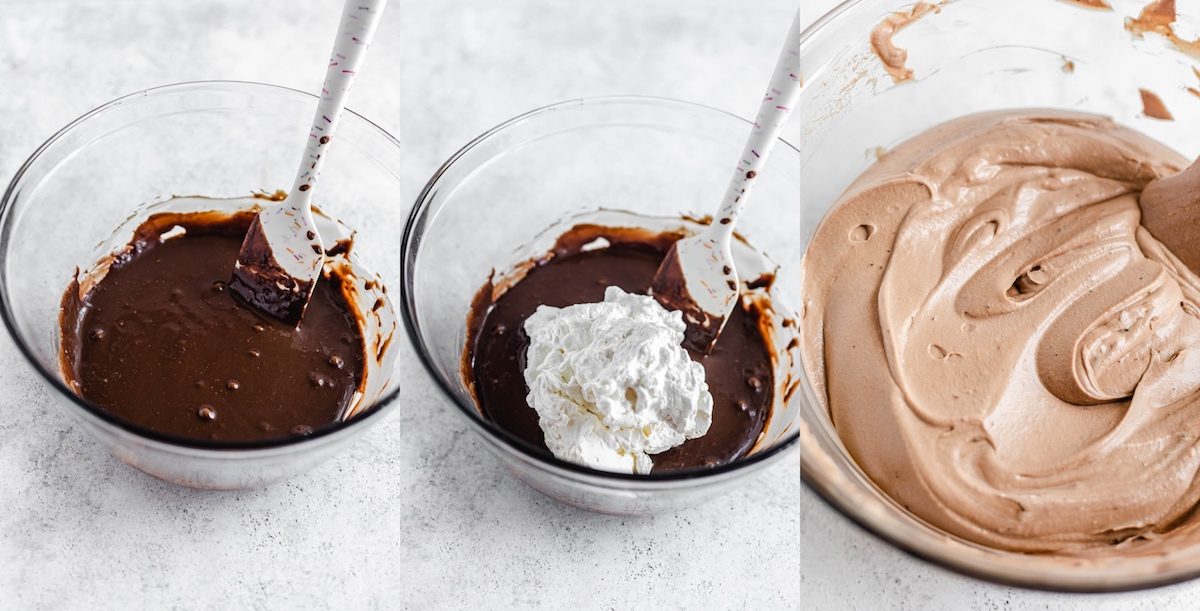 three photos showing how to mix whipped cream into chocolate condensed milk mixture to make ice cream