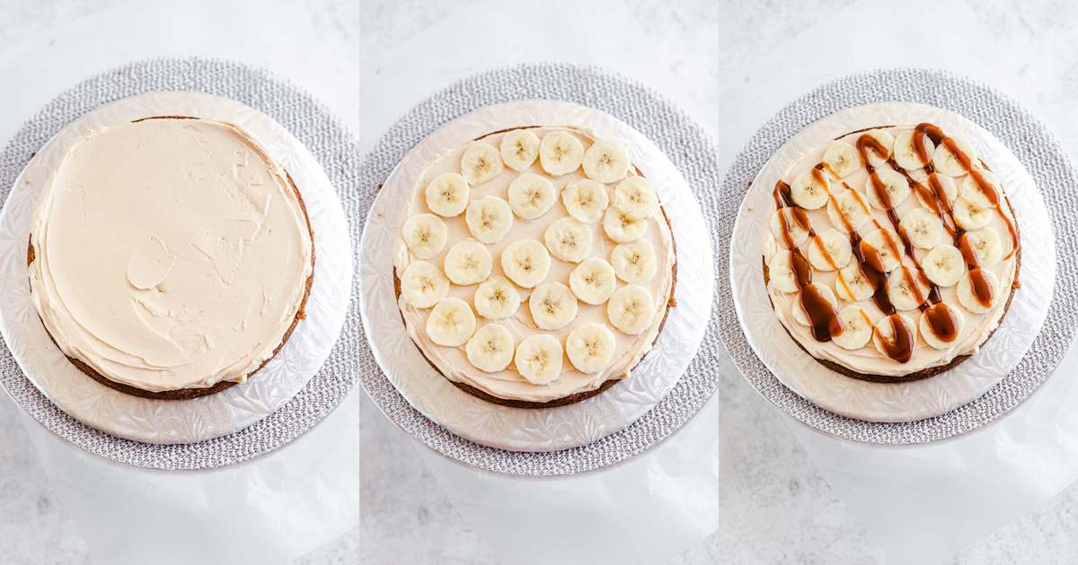 caramel frosting, sliced bananas and caramel sauce on a cake layer