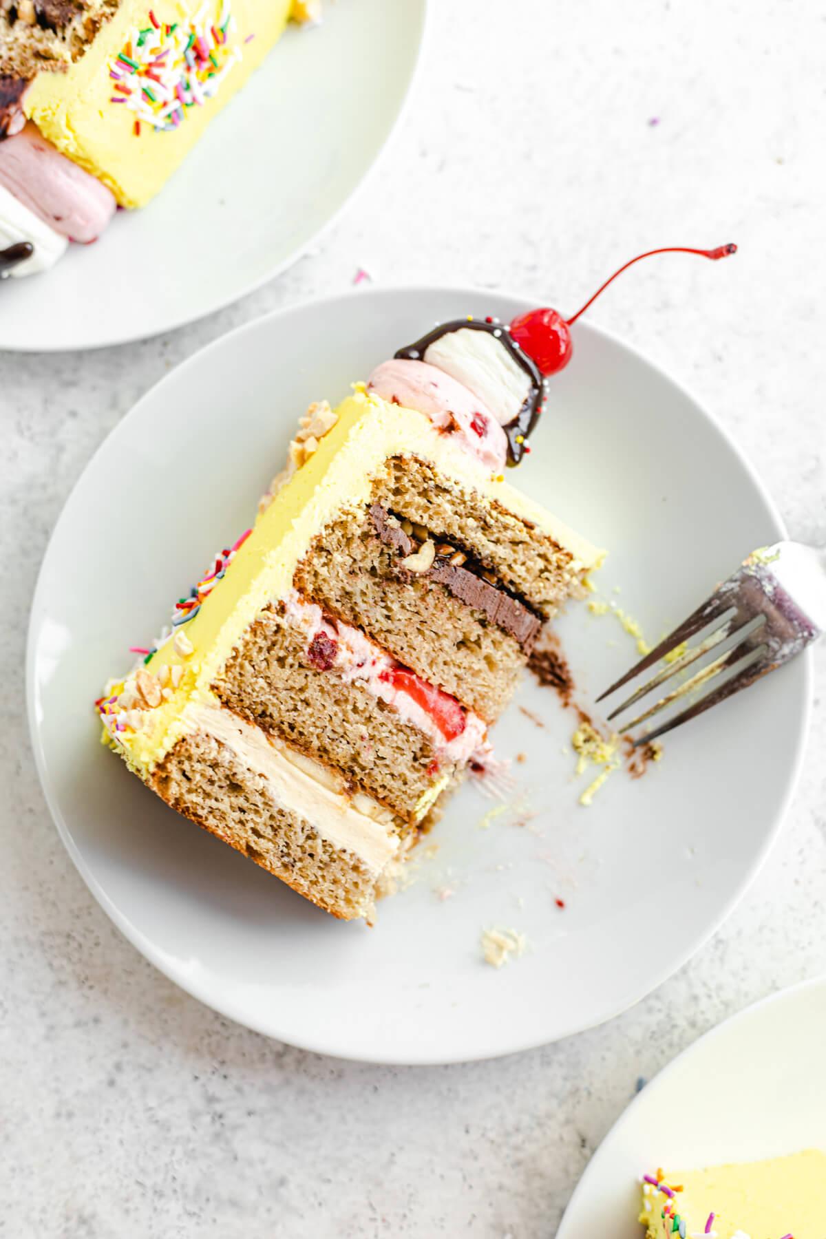 half eaten cake on a white plate