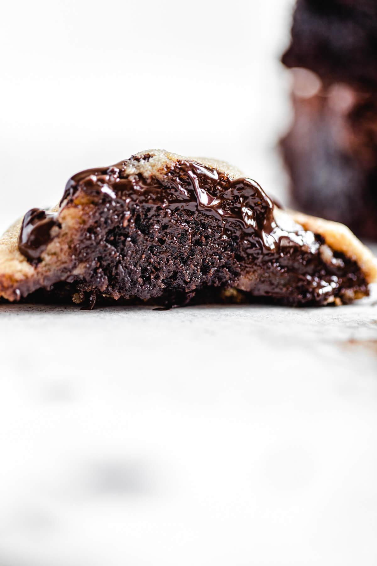 halved brownie stuffed cookie