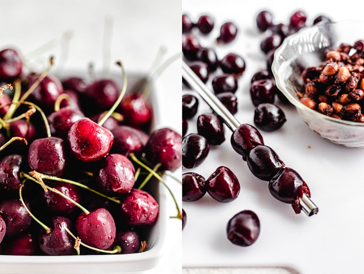 fresh cherries in a white bowl and pitting cherries with a steel straw