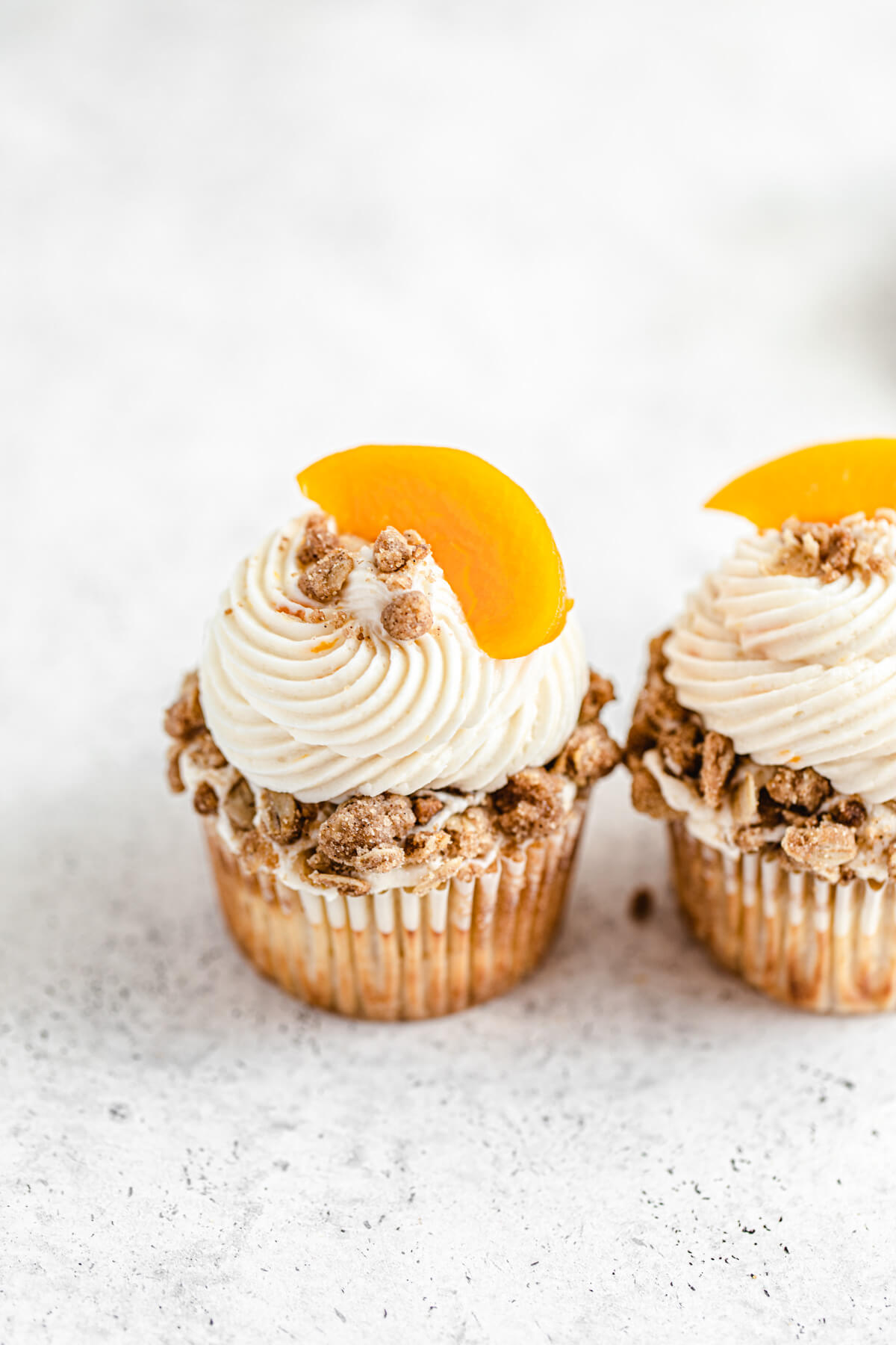 close up angled view of two cupcakes
