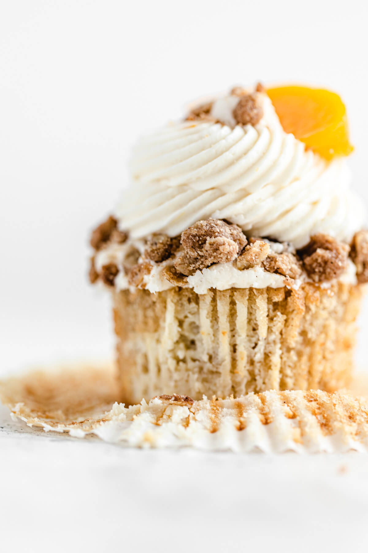 close up of unwrapped cupcake