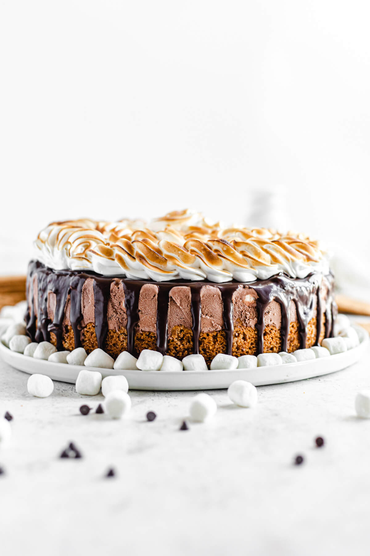 s'mores ice cream cake on a large white plate