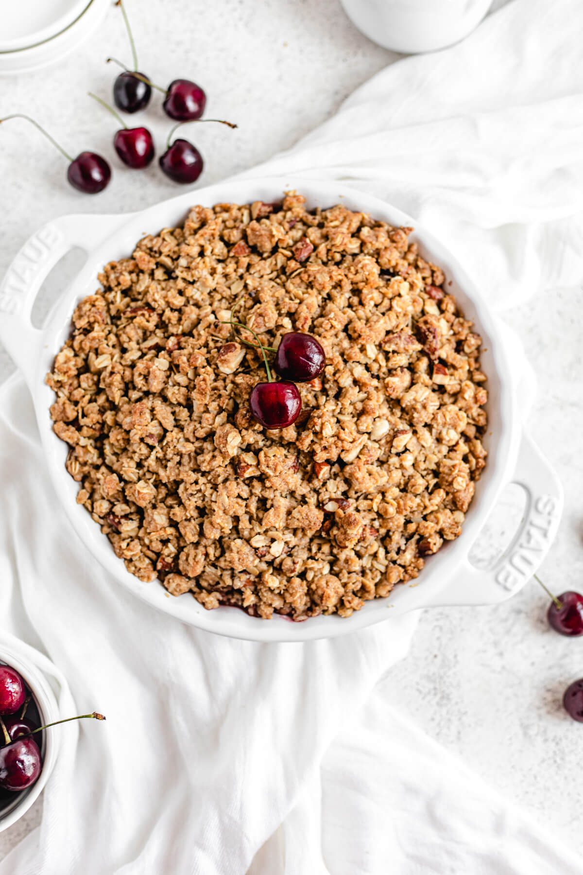 Crisp topped with fresh cherries