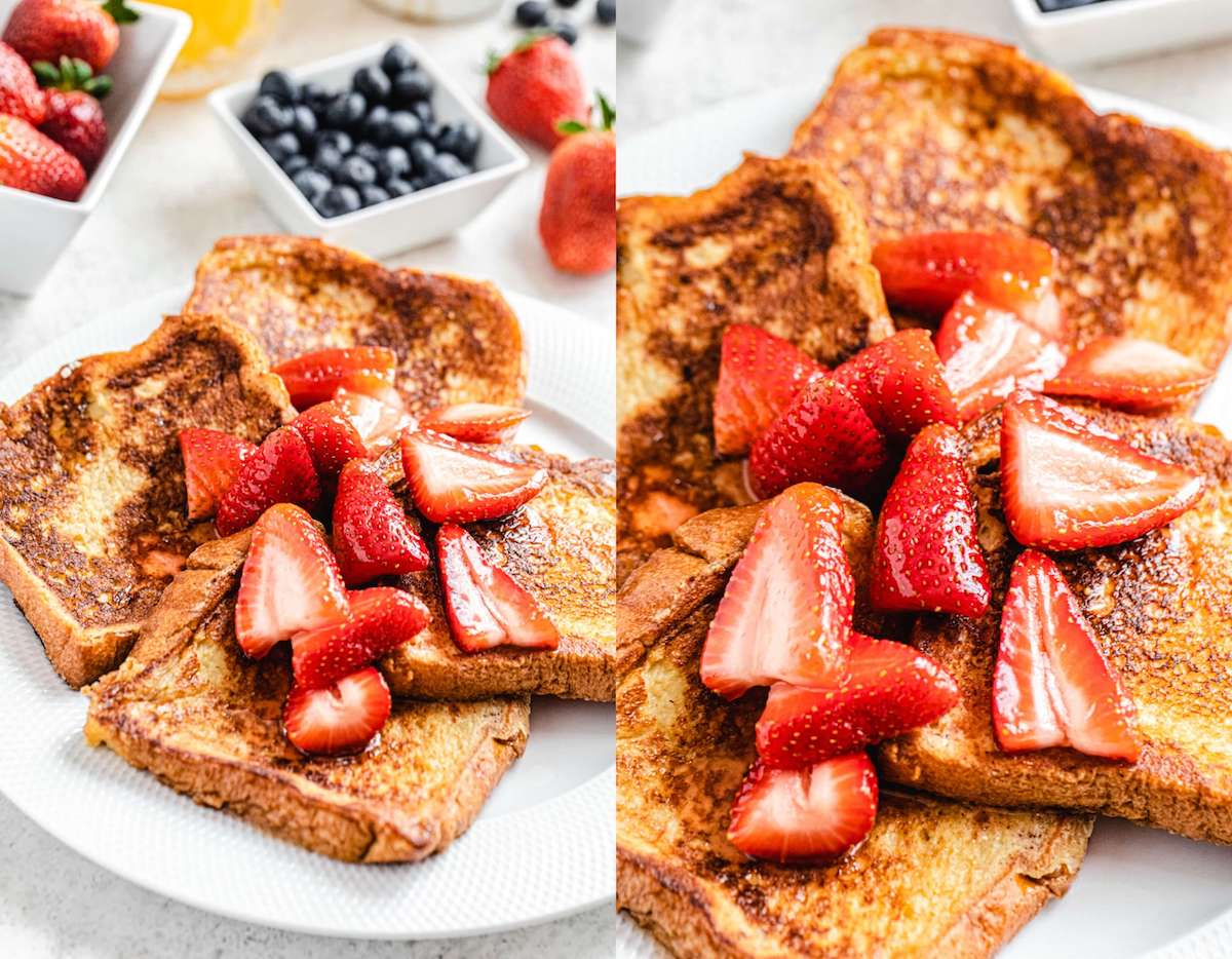 French toast topped with macerated strawberries