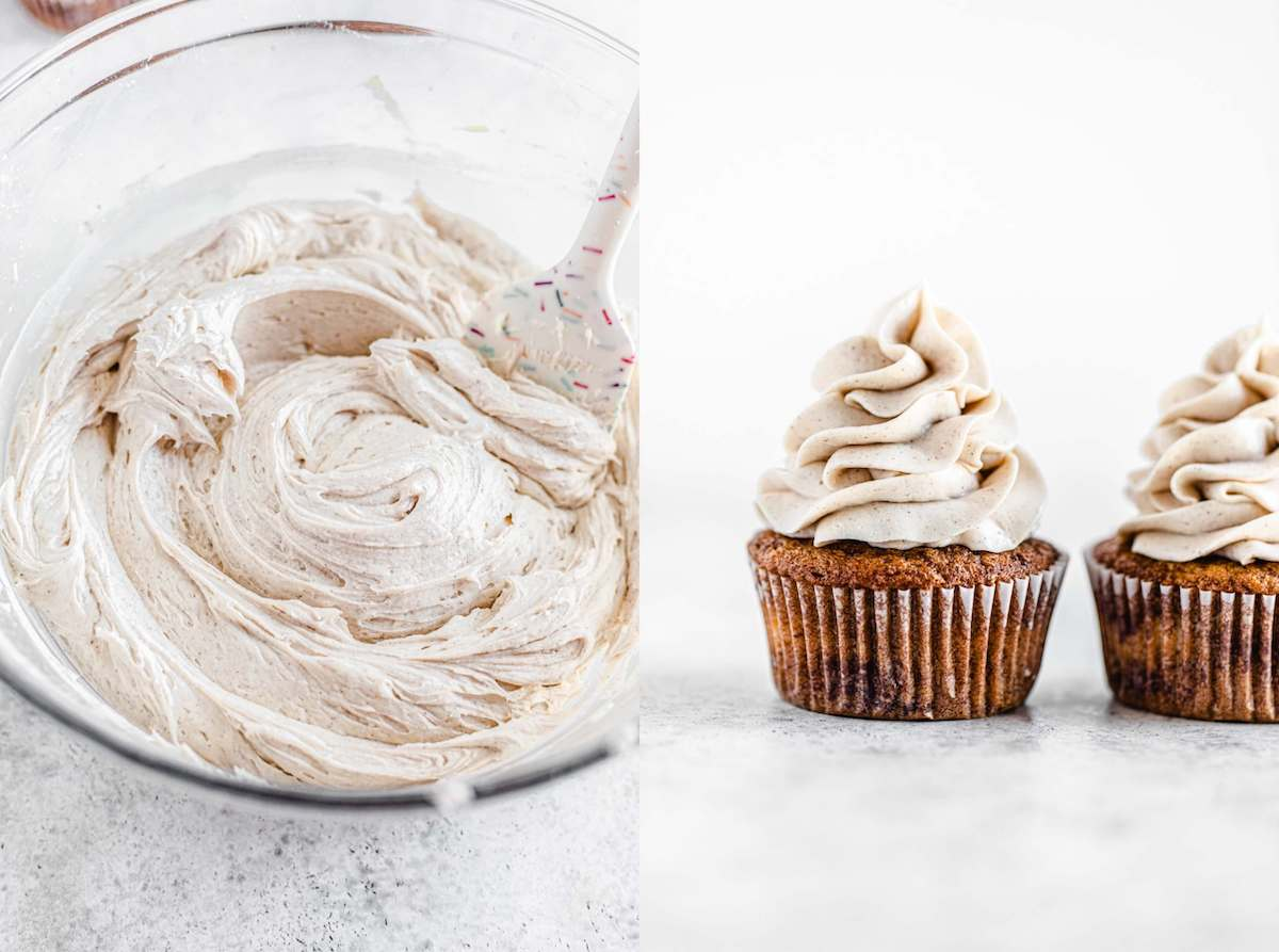 cinnamon frosting in a bowl and swirled on top of cupcakes