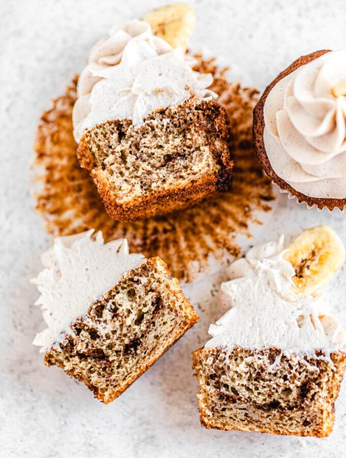 three halved cupcakes