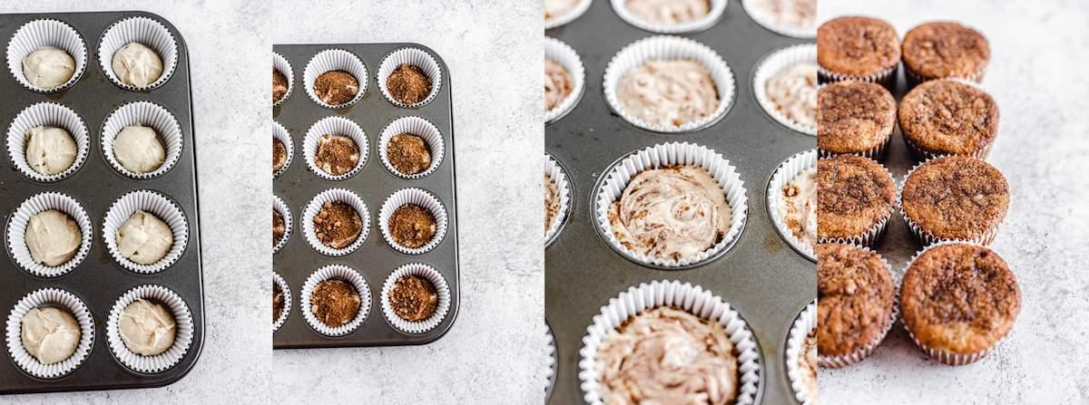 swirling cinnamon sugar with banana cupcake batter in cupcake liners
