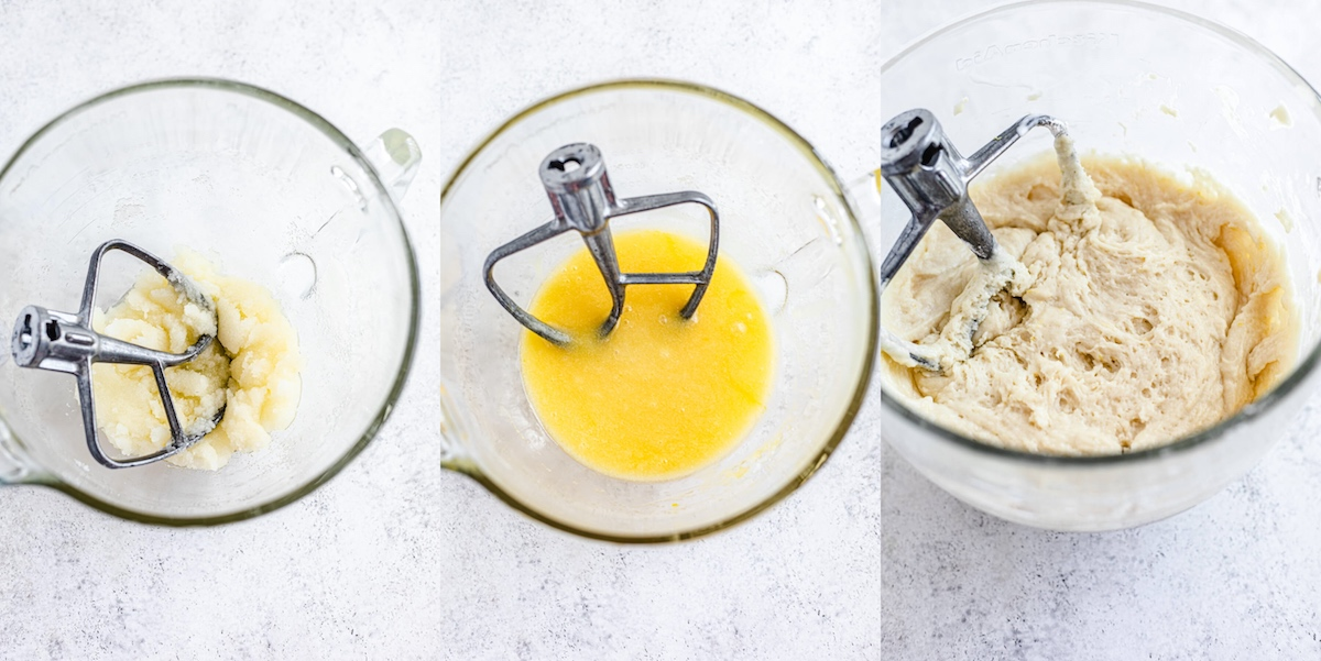 collage showing how to make lemon flavoured muffins