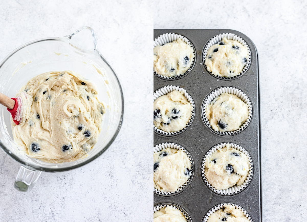 muffin batter in a bowl and in muffin liners