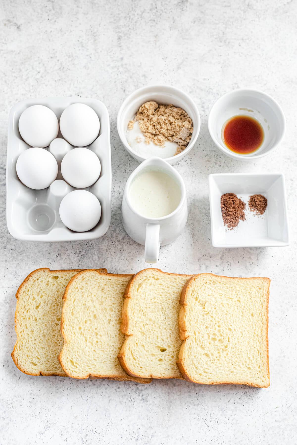 eggs, brown and white sugar, vanilla, milk and cream, cinnamon and nutmeg, and brioche slices