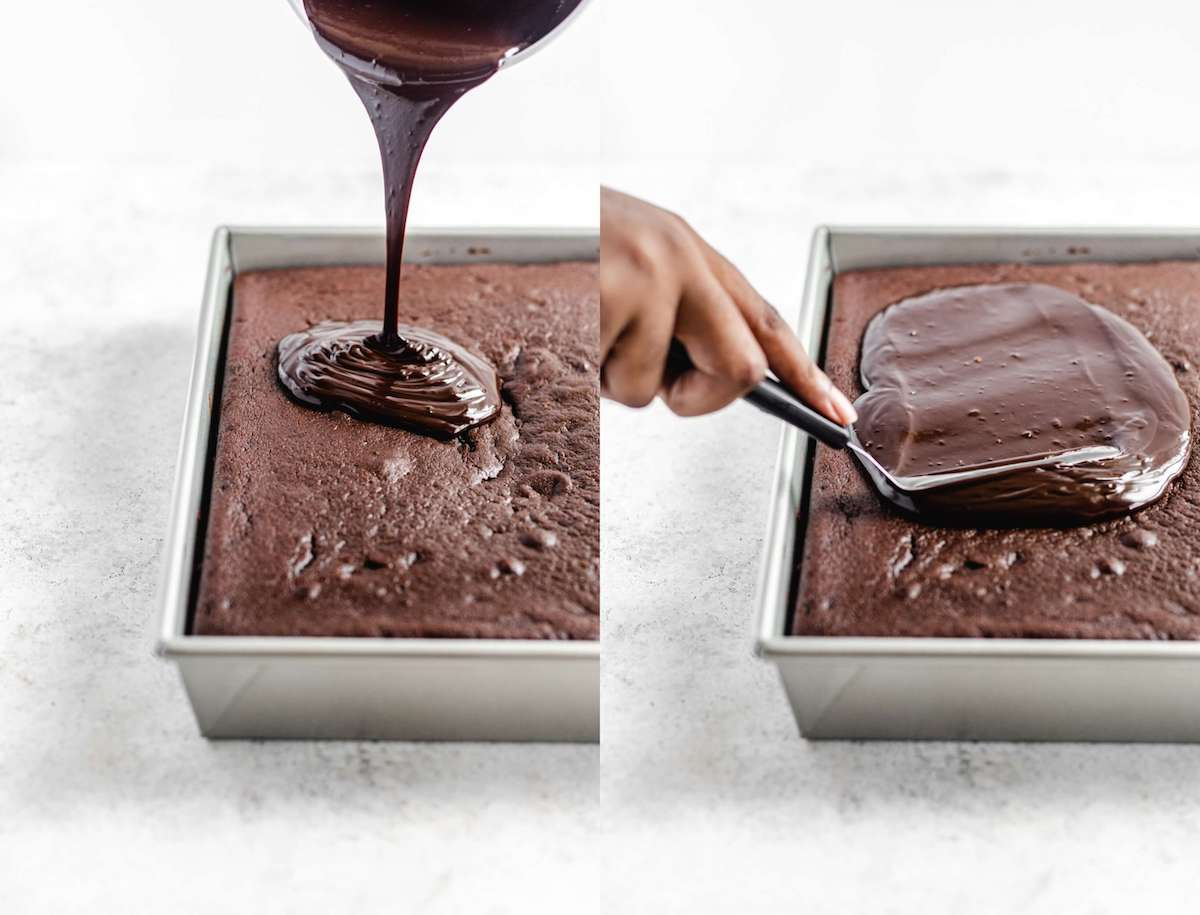 pouring ganache on top of chocolate cake