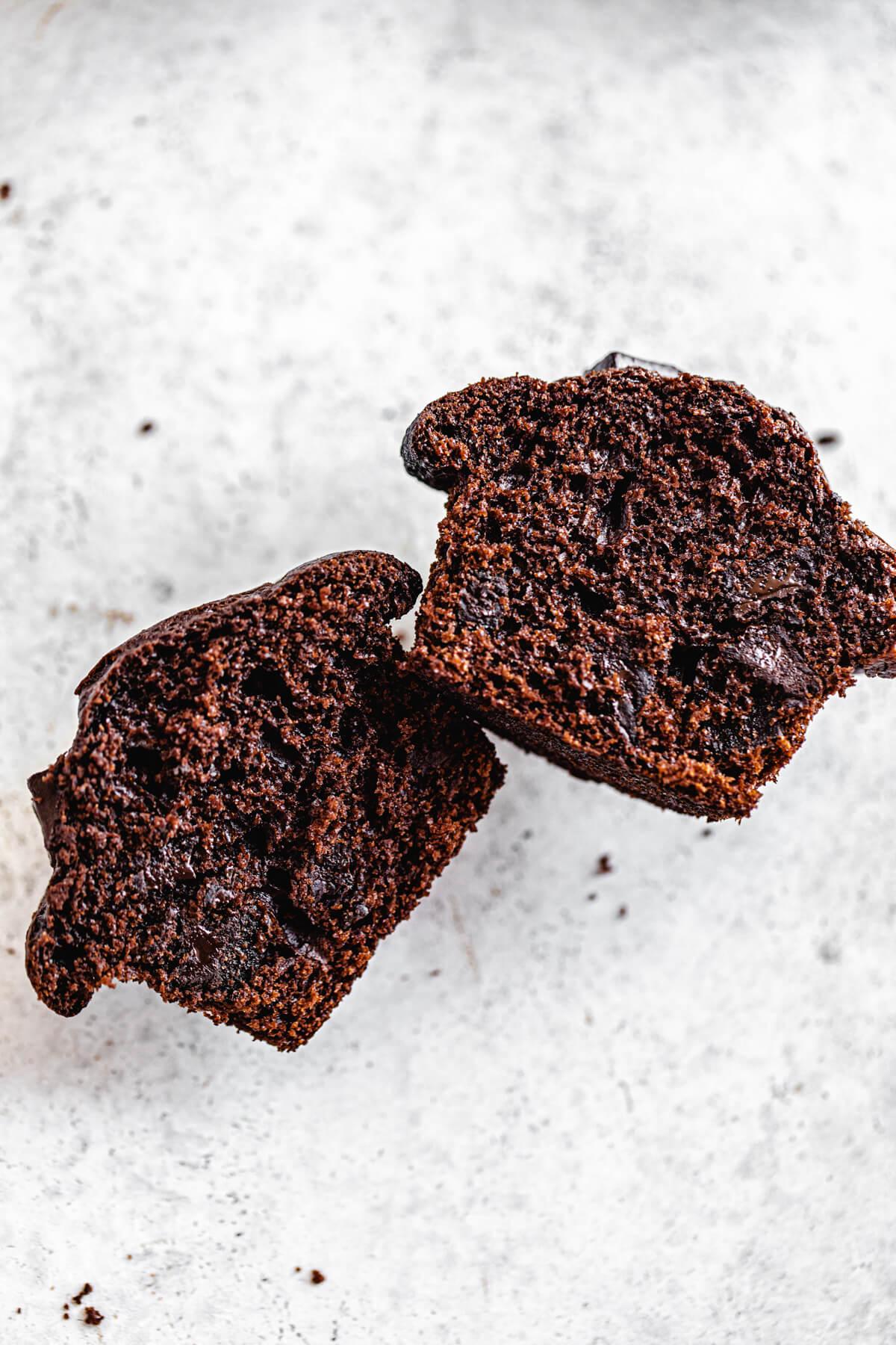 halved chocolate muffins