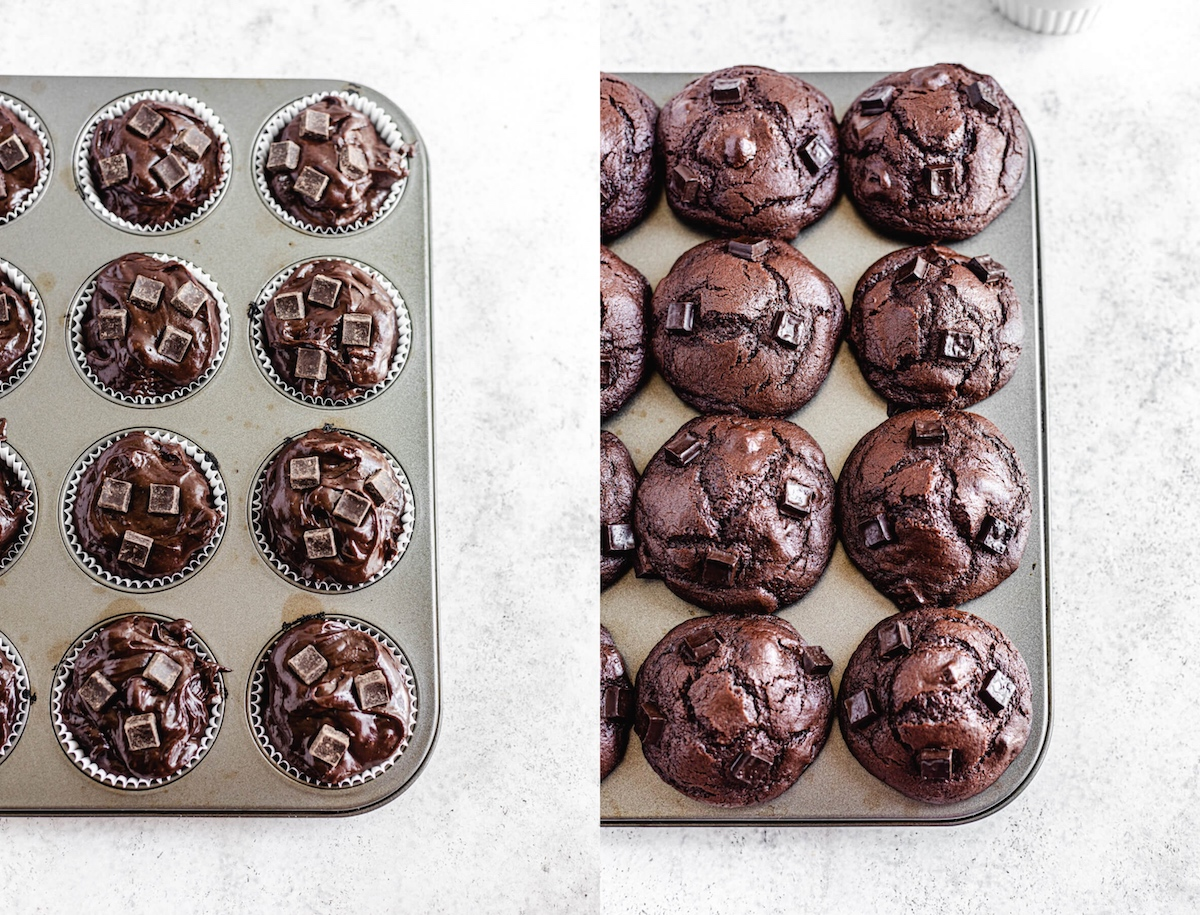 before and after of unbaked and baked muffins in muffin pan